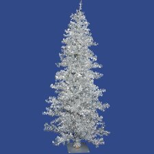 "Silver Wide Cut Tree 7' 6"" Artificial Christmas Tree with 300 Clear Mini Lights with Stand"