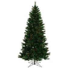 Midnight Green Pine 9' Artificial Christmas Tree with 600 Red Dura-Lit Mini Lights with Stand