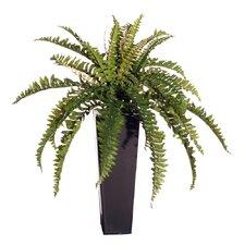 "Floral 27"" Medium Artificial Potted Boston Fern in Green"