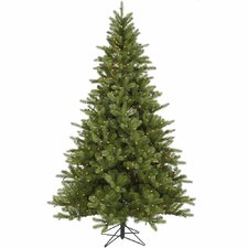 King 7.5' Green Spruce Artificial Christmas Tree with 700 Dura-Lit Clear Lights with Stand