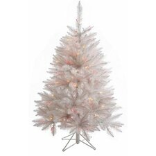 "Crystal White Spruce 4' 6"" Spruce Artificial Christmas Tree with 165 LED Multicolored Lights with Stand"