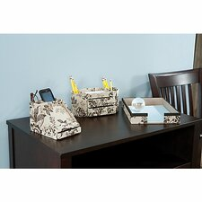 Grand Expressions assorted storage bin collection in Neutral & Chocolate Floral Print (Set of 4)