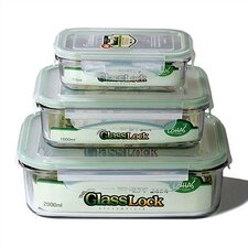 Go Green Glasslock Assorted 3-Piece Rectangular Food Storage Container Set