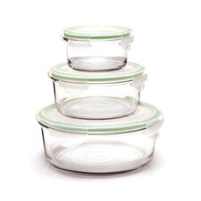 Go Green Glasslock Assorted 3-Piece Round Food Storage Container Set