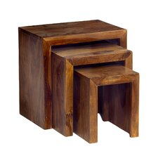 Cube Sheesham 3 Piece Nest of Tables