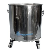 "Stainless Steel 8 Gallon Round Mop Bucket with 2"" Casters"