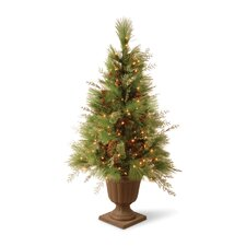 White Pine 4' Green Entrance Artificial Christmas Tree with Urn Base