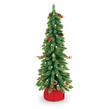 "Downswept 2' 6"" Green Artificial Christmas Tree with 50 Pre-Lit Clear Light and Forest"