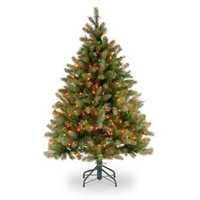 "Douglas Fir Downswept 4' 6"" Green Artificial Christmas Tree with 450 Pre-Lit Multi-Colored Lights with Stand"