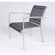 Out of Blue Elysun Low Lounge Armchair in Silver with Grey Sling