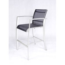 Out of Blue Elysun Barstool with Armrest in Silver with Grey Sling