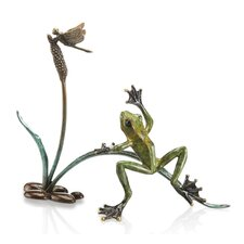 Rainforest Frog with Dragonfly Statue
