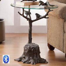 Birds and Branch End Table with Bluetooth Speakers