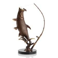 Fighting Tarpon with Tackle Statue