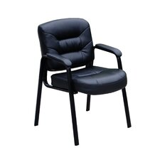 Leather Guest Chair with Polished Steel Legs