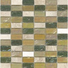 "Elida Glass 12"" x 12"" Mosaic in Kaki Brick"