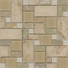 "Elida Glass 12"" x 12"" Mosaic in Sand Slate"