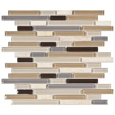 "Sierra 11-3/4"" x 11-3/4"" Polished Glass and Stone Piano Mosaic in River"