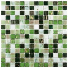 "Fused Glass 12"" x 12"" Polished Glass Mosaic in Forest Green"