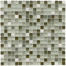 "Sierra 11-3/4"" x 11-3/4"" Polished Glass and Stone Mini Mosaic in Emerald Isle"