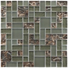 "Sierra 11-3/4"" x 11-3/4"" Polished Glass Mosaic in Vesuvius Ranier"