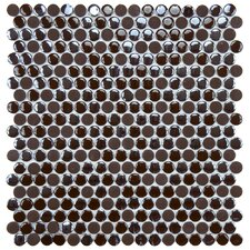 "Posh 11-1/4"" x 12"" Penny Round Porcelain Mosaic Wall Tile in Brown"