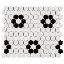 "Retro 10-1/4"" x 11-3/4"" Glazed Porcelain Hex Mosaic in Glossy White with Heavy Flower"