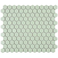 "Retro 10-1/4"" x 11-3/4"" Glazed Porcelain Hex Mosaic in Matte Light Green"