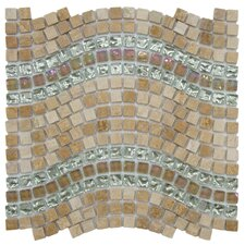 "Sierra 11-3/4"" x 12-1/4"" Polished Glass, Stone and Metal Mosaic in Wave Venus"