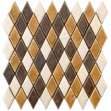 "Heritage 12"" x 11-1/2"" Ceramic Argyle Mosaic in Goldstone"