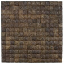 "Natural 16-1/2"" x 16-1/2"" Convex Coconut Mosaic Wall Tile in Espresso"