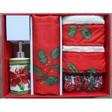 Christmas Floral Holiday Print 16-Piece Shower Curtain Set