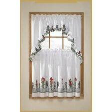 3 Piece Birdhouse Rod Pocket Swag Valance and Tier Set