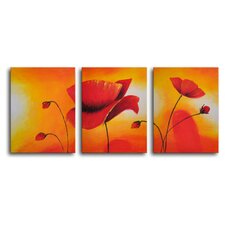 "Hand Painted ""Lava Lamp Poppies"" 3-Piece Canvas Art Set"