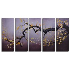 "Hand Painted ""Japanese Branch Charcoal Sky"" 5-Piece Canvas Art Set"