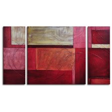 "Hand Painted ""Gold on Red"" 3-Piece Canvas Art Set"