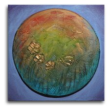 "Hand Painted ""Planet Earth"" Canvas Wall Art - 20"" x 20"""
