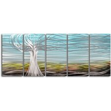 """Ghostly Tree"" 5 Piece Contemporary Handmade Metal Wall Art Set"