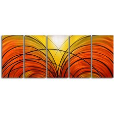 """Twin Cornucopia"" 5 Piece Contemporary Handmade Metal Wall Art Set"