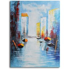 "Hand Painted Modern Oil Painting ""Sail Boats and Silos"" Canvas Wall Art"