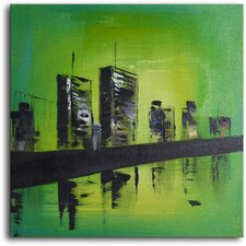 "Hand Painted Modern Oil Painting ""Twin Towers"" Canvas Wall Art"