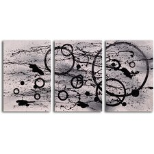 "Hand Painted ""Black on White Expression"" 3 Piece Oil Canvas Art Set"