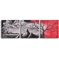 "Hand Painted ""Bloody Rain"" 3 Piece Oil Canvas Art Set"