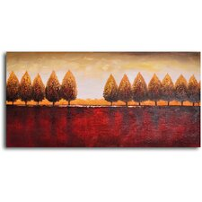 "Hand Painted ""Gold Trees Red Earth"" Oil Canvas Art"
