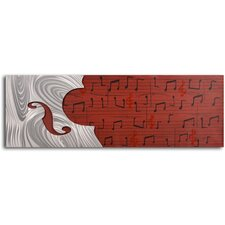 "Handcrafted ""Cello Form on Red Score"" Metal on Hand Painted Canvas"