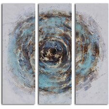 3 Piece ''Marble Blue Chasm'' Hand Painted Canvas Set