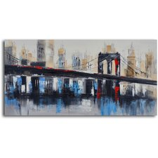 ''Bridge to Downtown'' Hand Painted Canvas Art