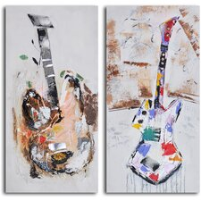 2 Piece ''Papier-Maché Guitar Couplet'' Hand Painted Canvas Set