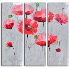 3 Piece ''Pirouetting Poppies in Space'' Hand Painted Canvas Set