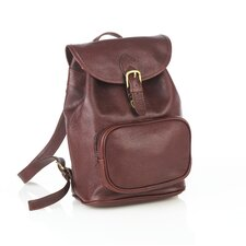 Leather Backpack with Zippered Pocket
